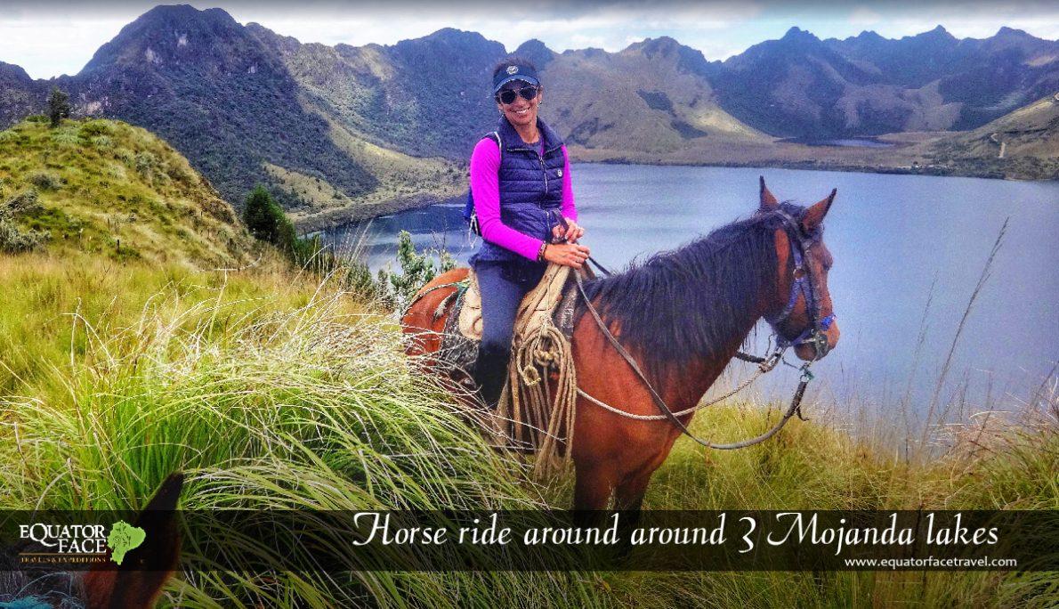 Horseback riding in the Mojanda Lagoons