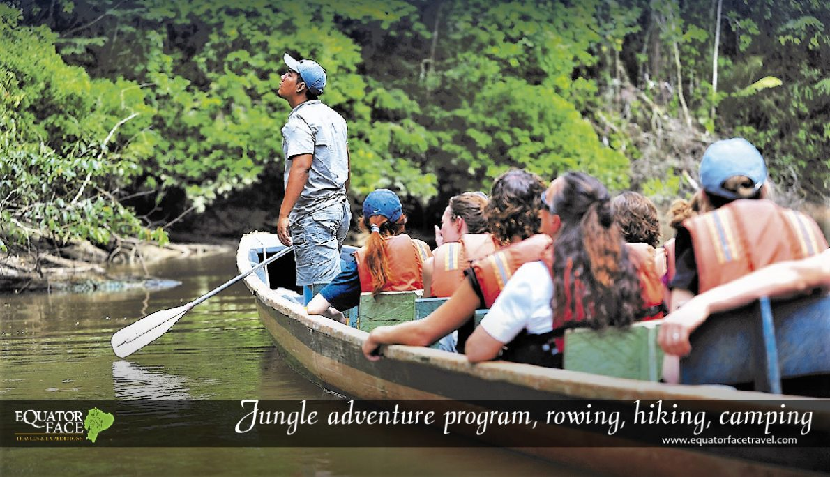 Expedition in the Amazon rainforest. Wildlife & rowing
